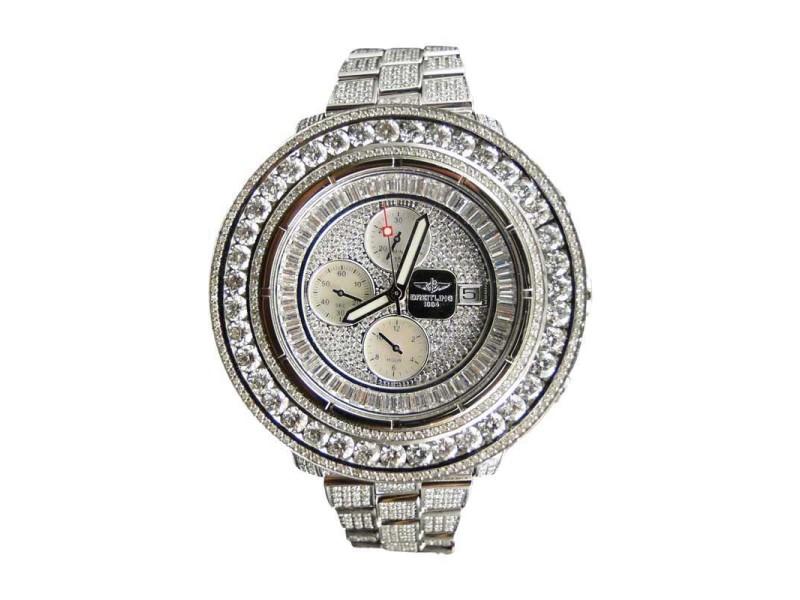 Breitling Super Avenger Aeromarine 55mm Genuine Diamond 35 Ct Watch