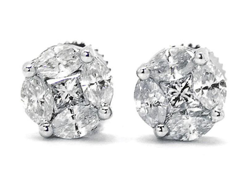 14K White Gold Princess Marquise Cut Diamond Stud Earrings