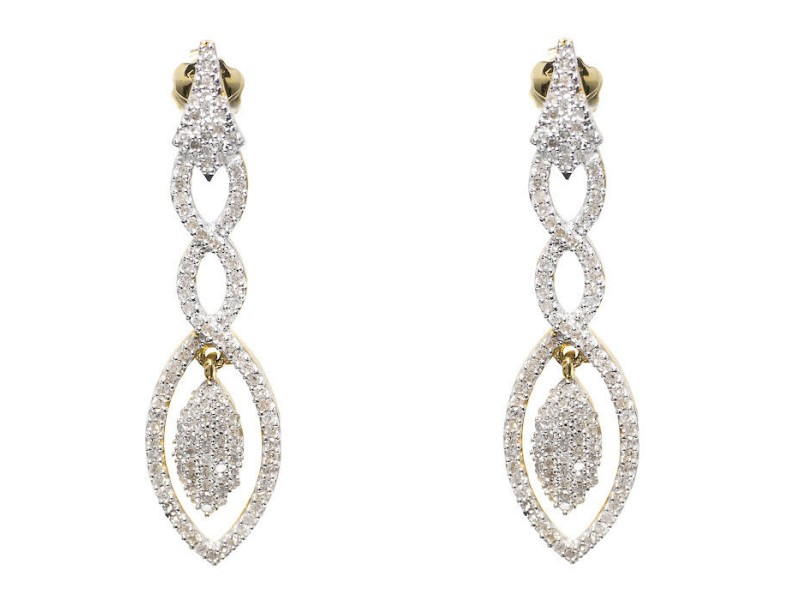 10K Yellow Gold Pave 1.0 ct Diamond Dangle Chandelier Drop Earrings