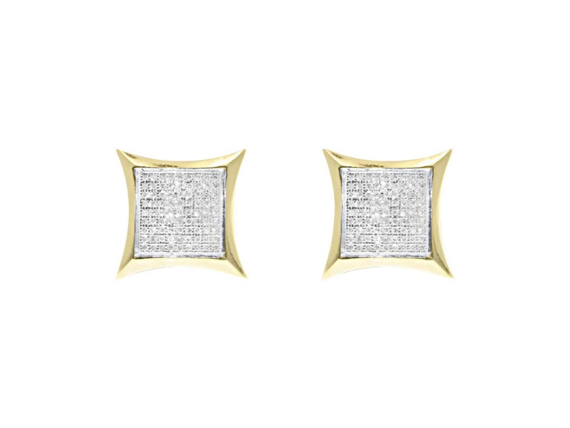 Yellow Gold Finish Sterling Silver Round Pave Diamond Kite Studs Earrings