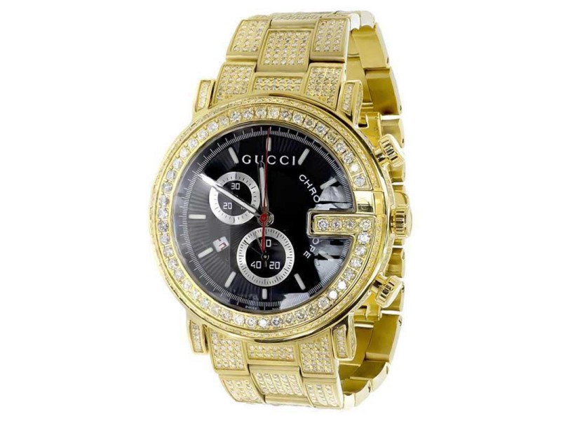 Gucci Ya101334 Diamond Custom Gold PVD 101 G Real 44 mm Mens Watch