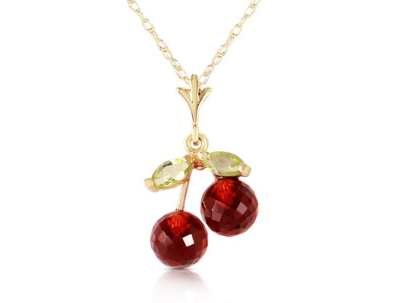 1.45 CTW 14K Solid Gold Cherry Pie Garnet Peridot Necklace
