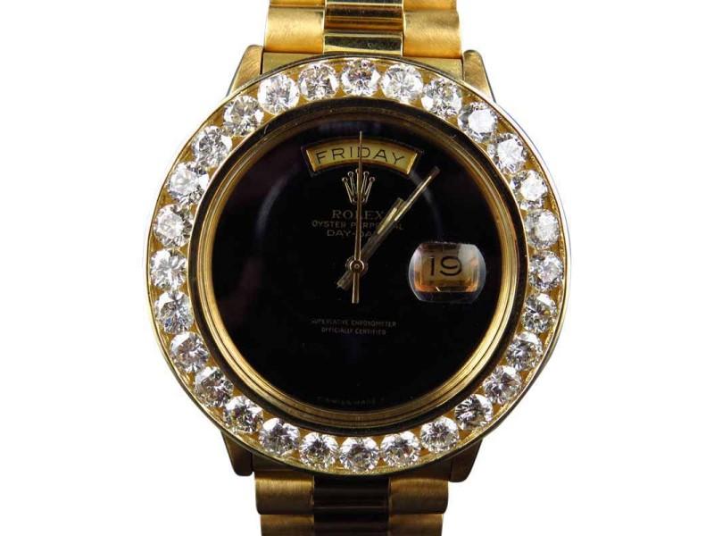 Rolex President Day-Date XL 18k Yellow Gold Diamond Bezel Mens Watch