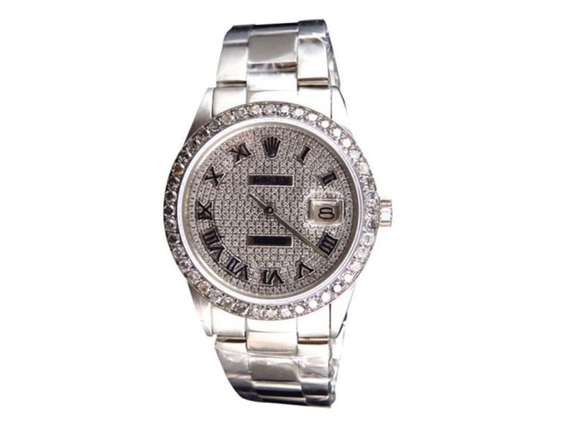 Rolex Datejust Oyster Pave Stainless Steel Diamond 36mm 4.5 Ct Watch