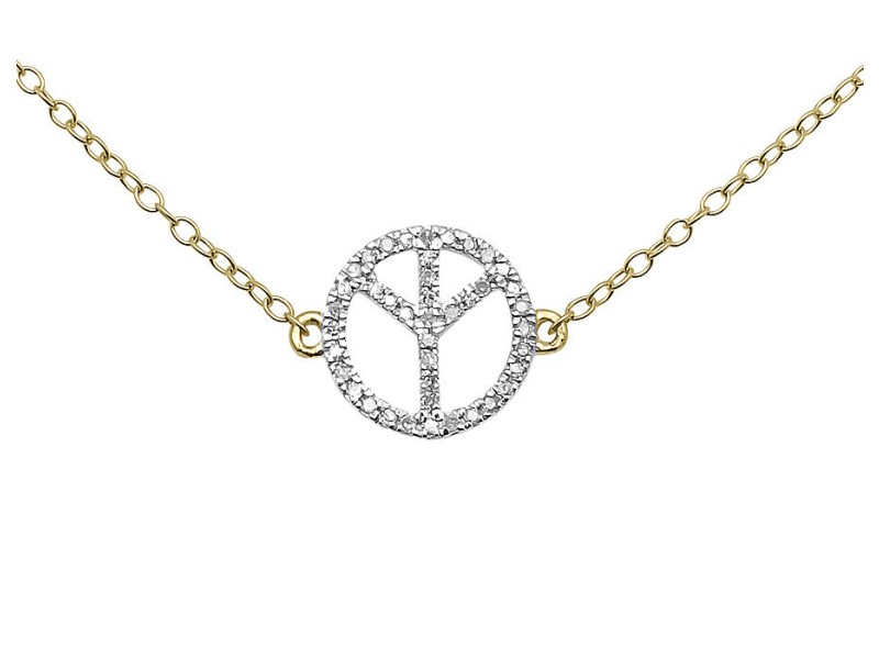 14K Yellow Gold Peace Sign Round 18in .12ct Diamonds Pendant Necklace