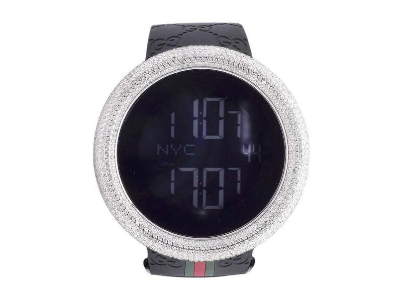 Gucci Digital YA114207 White Case Full Diamond Mens Watch