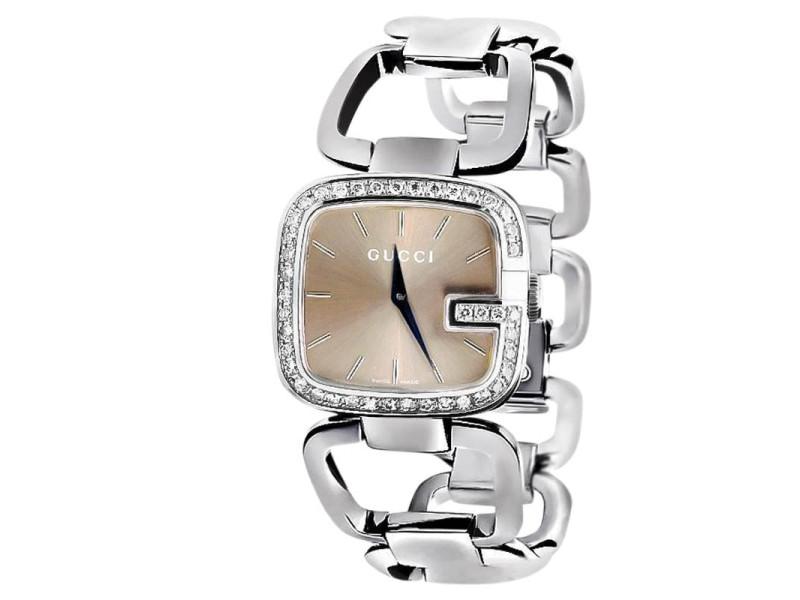 G-Gucci YA125402 Black Dial 2CT Genuine Diamond Stainless Steel Swiss Watch
