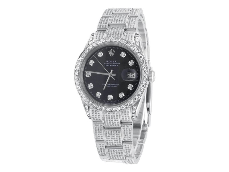 Rolex Datejust Oyster Stainless Steel Dial 7.5 Ct Diamond Mens 36 mm Watch