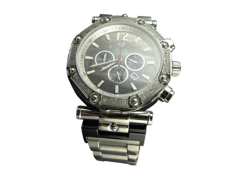 Aqua Master Black MOP Dial Stainless Steel 45mm Diamond Watch