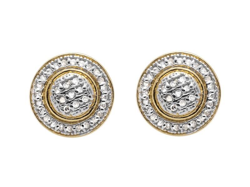 Yellow Gold Finish Sterling Silver Milgrain Frame Halo Genuine Diamond Stud Earring