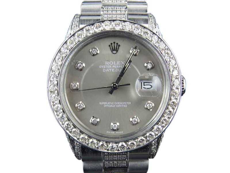 Rolex Datejust Presidential Stainless Steel Dial Diamond Mens Watch