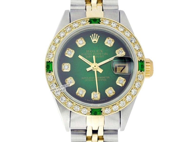 Rolex Datejust Oyster Perpetual Stainless Steel/18K Gold Green Vignette Diamond Watch