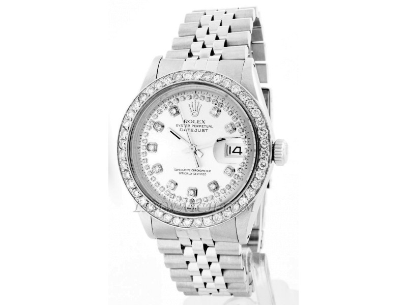 Rolex Datejust 16014 Oyster Perpetual Stainless Steel Silver String Mens Watch
