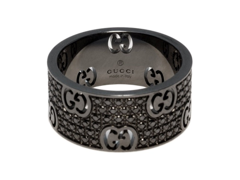 Gucci Black 18k Gold Icon Stardust 0.68ct Eternity Diamond Band Ring
