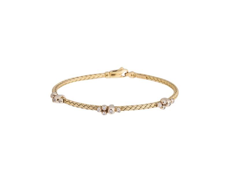 14k Yellow Gold 0.20 Ct. Diamond Basket Weave Bracelet