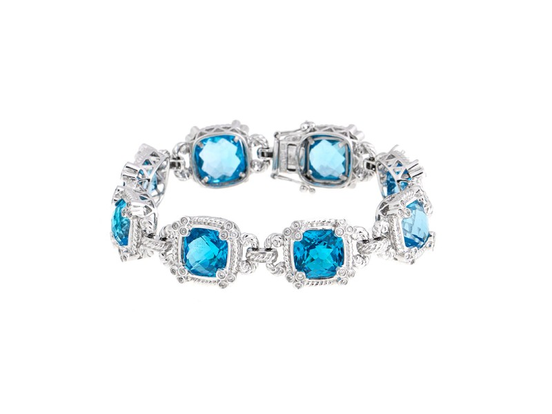 Eye-catching 14k White Gold Blue Topaz Diamond Bracelet