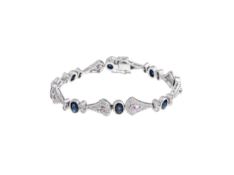Exquisite 18k White Gold Sapphire And Diamond Bracelet