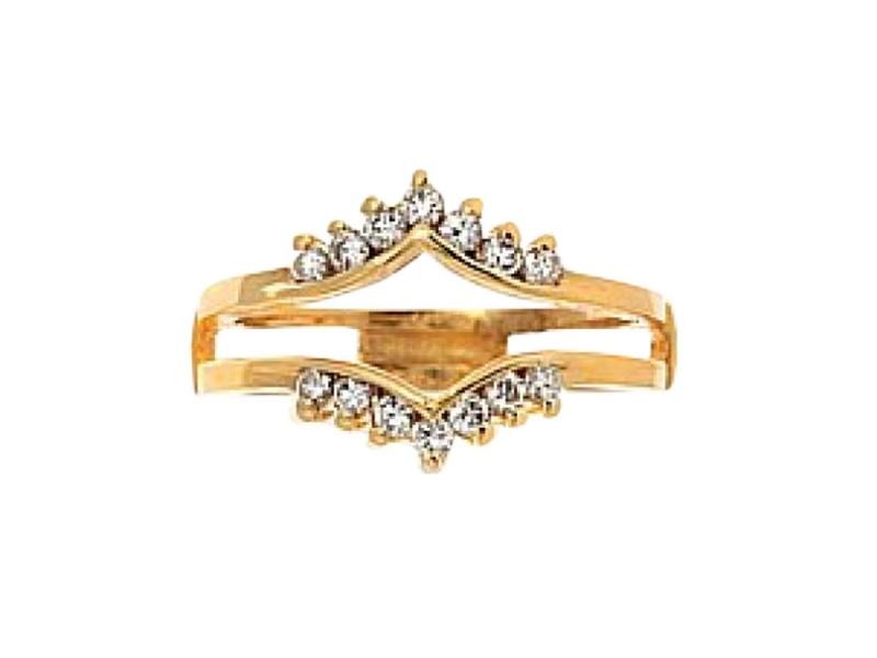 14K Yellow Gold Diamond Guard Rin