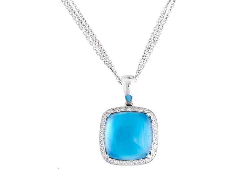 Romantic 14k White Gold Cabochon Blue Topaz & Diamond Pendant