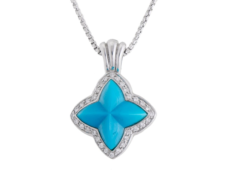 Happy And Cheerful 14k White Gold 5.40 Ct. Turquoise And Diamond Pendant