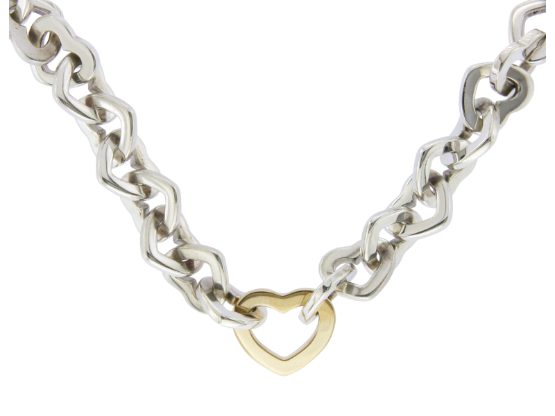 Tiffany & Co. 18K Yellow Gold & 925 Sterling Silver Hearts Link Necklace
