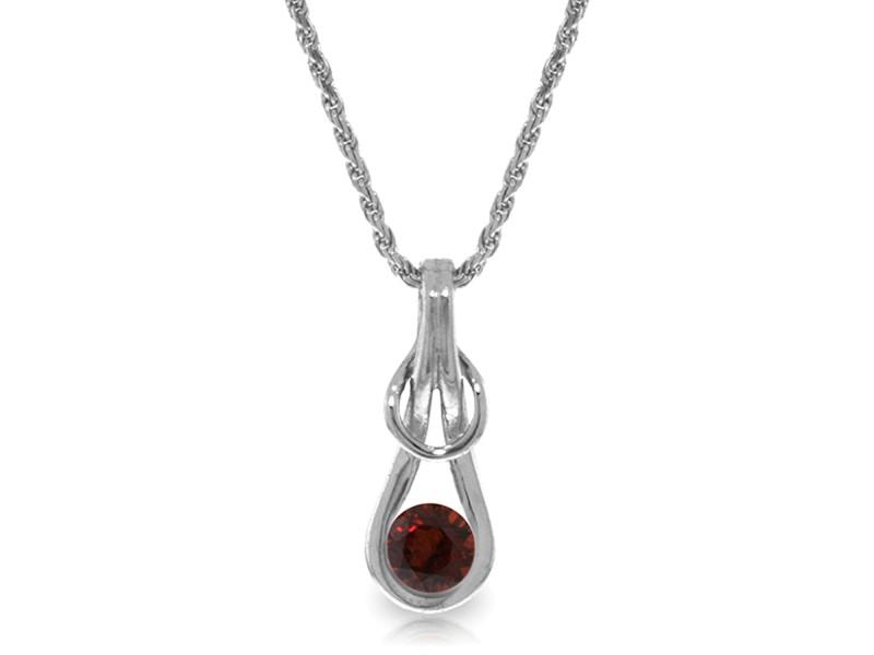 0.65 CTW 14K Solid White Gold Sunstruck Garnet Necklace