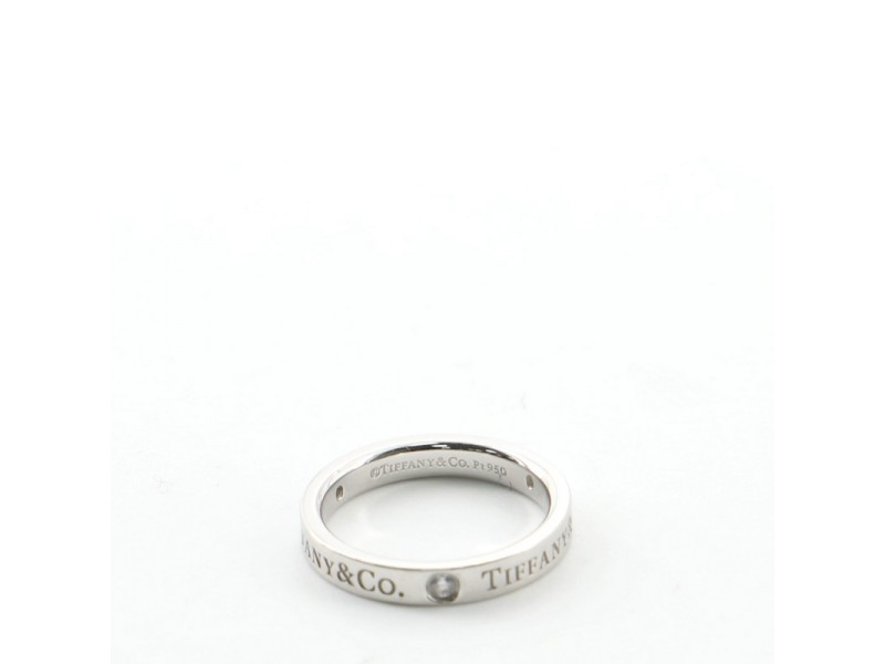Tiffany & Co. Logo Band Ring Platinum and Diamonds
