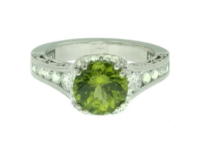 Tacori 18k 18K White Gold Peridot .80ctw Diamond Ring Size 6.25