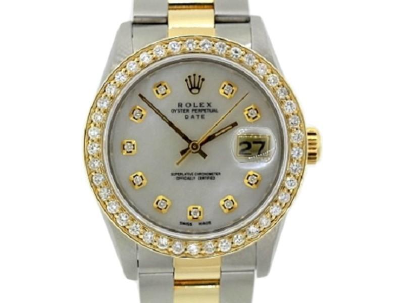 Rolex Date Gold Diamond Mens Watch