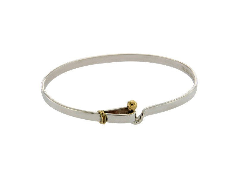 Tiffany & Co. 925 Sterling Silver & 18K Gold Hook & Eye Bangle Bracelet