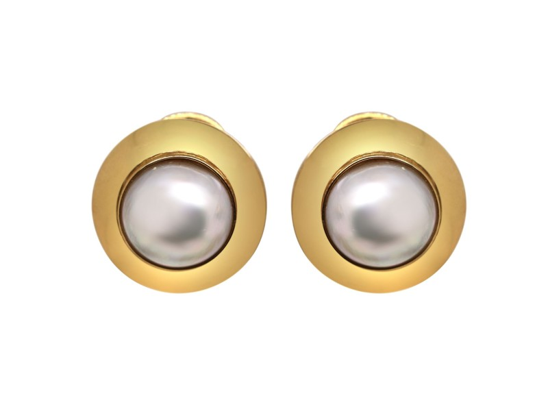 14k Yellow Gold Mabe Pearl Earrings 21mm