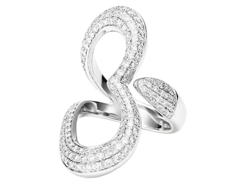 Piaget G34LJ400 18K White Gold Diamond Ring Size 6.75