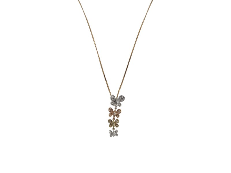 14K Tri-Tone Gold Butterfly Link and Diamond Necklace