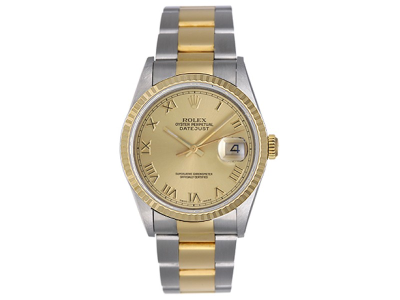 Rolex Datejust 16233 Stainless Steel & 18K Yellow Gold 36mm Mens Watch
