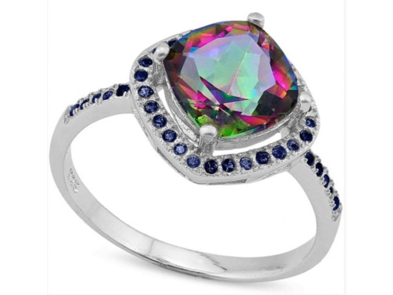 925 Sterling Silver Mystic Gemstone & Blue Sapphire Ring Size 7