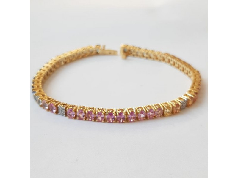 Pink Gold with Multi-Colored Sapphires ans Diamond Bracelet