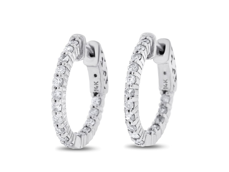 "14k White Gold 0.79 Ct. Natural Diamonds Inside Out Hoop 3/4"" Earrings"