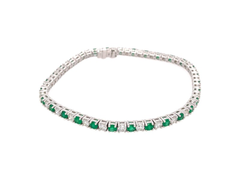 18k White Gold Emerald and Diamond Tennis Bracelet