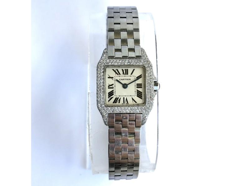 CARTIER SANTOS DEMOISELLE 2698 20mm Quartz Steel Diamond Ladies Watch