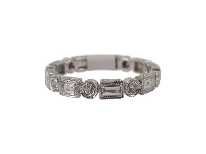 18K White Gold & Diamond Zodiac Eternity Band Ring Size 6.5