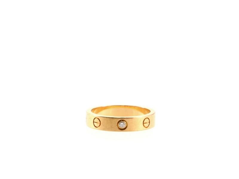 Cartier Love Wedding Band 1 Diamond Ring 18K Rose Gold with Diamond 6 - 52
