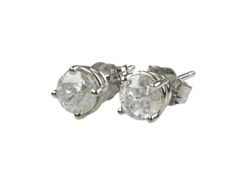 14K White Gold with 0.90ct Round Brilliant Cut Diamond Stud Earrings