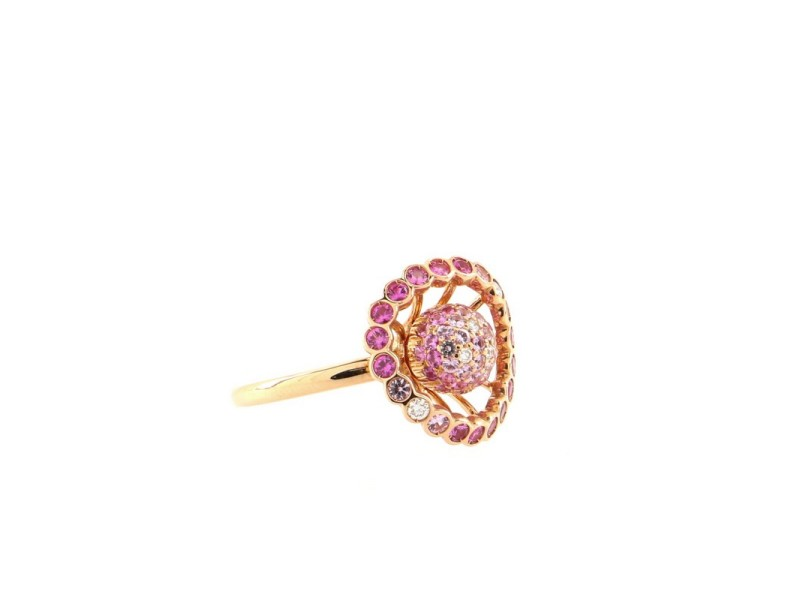 Boucheron Ma Jolie Ring 18K Pink Gold with Pink Sapphires and Diamonds 6.75 - 54