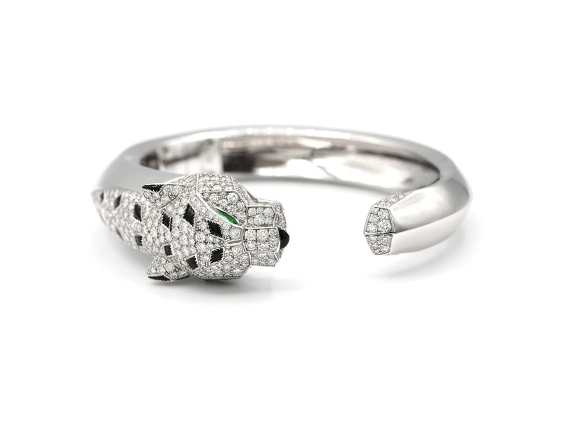Cartier Panther De Cartier Bracelet 18k White Gold With Diamonds, Onyx And Emerald