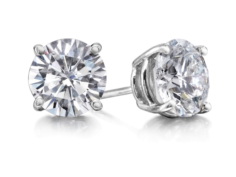 Crush & Fancy Brilliant Studs 14k White Gold Diamond 1.40ctw. Diamond Earrings