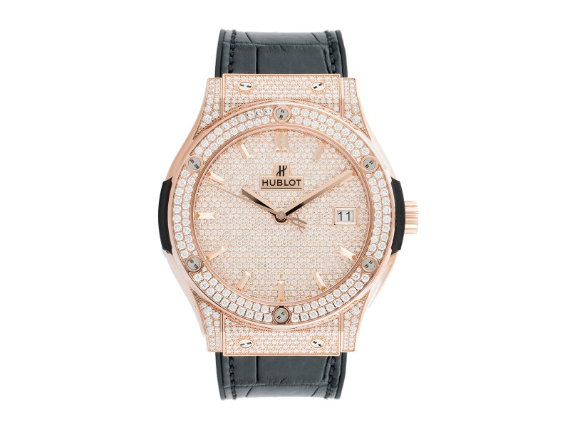 Hublot Classic Fusion Diamond Pave Dial 18K Rose Gold Automatic 45mm Mens Watch