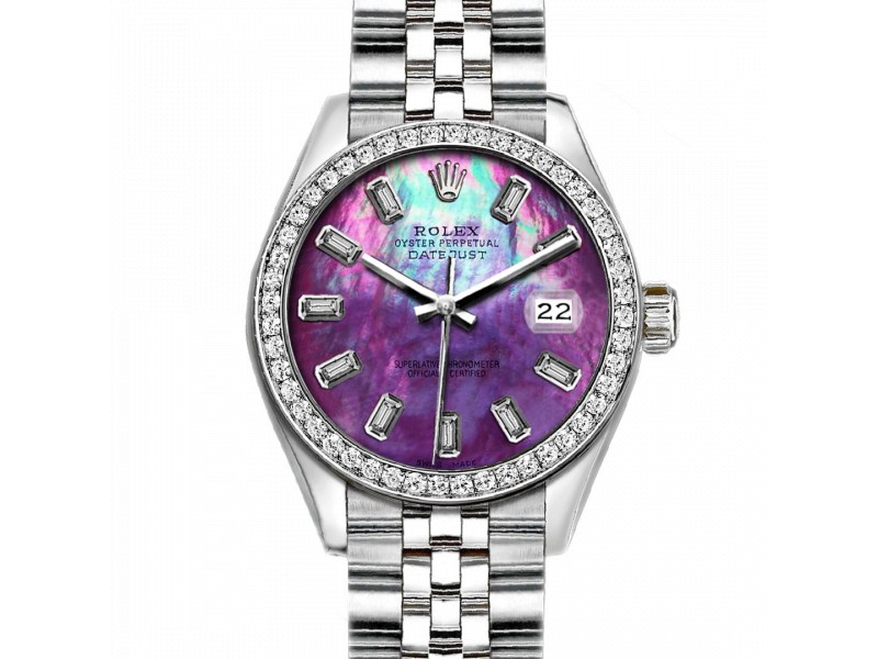 Rolex Datejust Stainless Steel with Custom Bezel and Purple MOP Dial 36mm Mens Watch