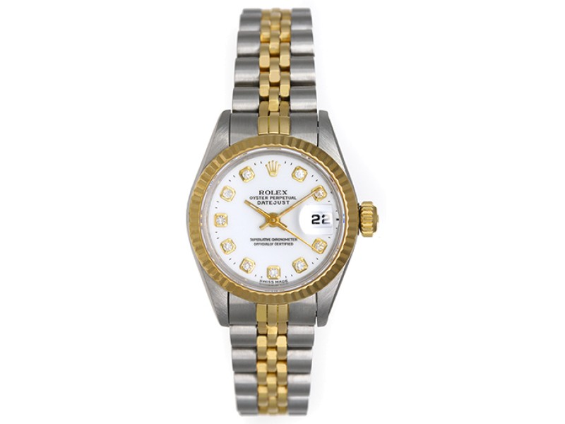 Rolex Datejust 69173 Two Tone White Dial 26mm Womens Watch