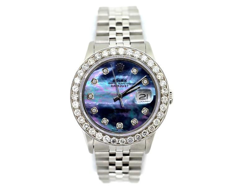 Rolex Datejust Diamond Blue Dial Stainless Steel 36mm Watch