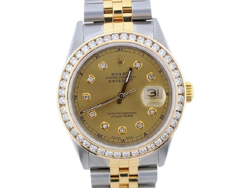 Rolex Datejust Two Tone Diamond Watch